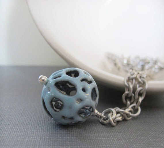 Enamel Necklace, Silver Necklace, Filigree Fog Enamel, Blue Grey, Robins Egg Blue, Silver Chain, Chain Necklace
