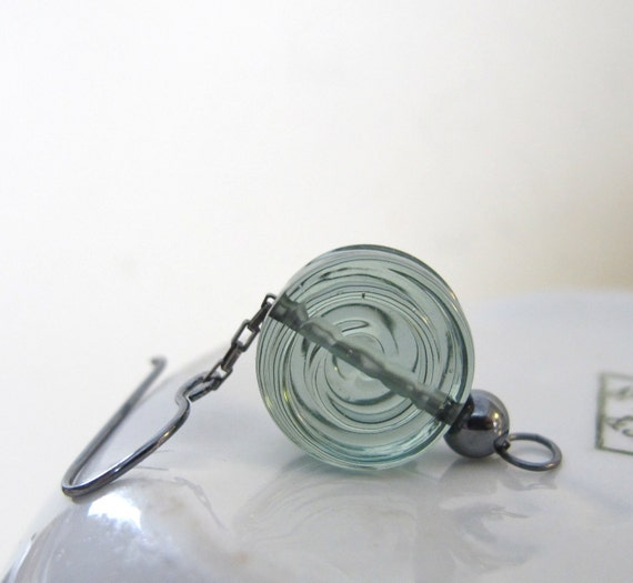 Glass Earrings, Spiral Glass, Fog Grey Green, Silver Earrings, Oxidized Silver, Silver Chain, Sterling Silver, Silver Jewelry