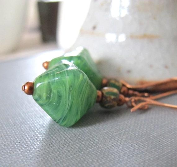 Glass Earrings, Kiwi Green Glass, Copper Earrings, Bicone Glass, Streaky Green, Green Brown Glass, Copper Jewelry, Glass Jewelry
