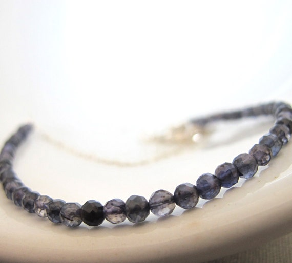 Blue Iolite Necklace, Silver Necklace, Silver Chain, Silver Jewelry, Midnight Blue, Genuine Iolite, Simple Elegance