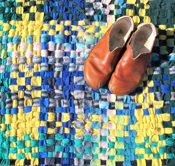 Rag Rug, Handwoven Rug, Felted Wool Rug, Plaid Rug, Wool Sweater Rug, Recycled Sweaters, Recycled Rag Rug, Handmade Rag Rug,
