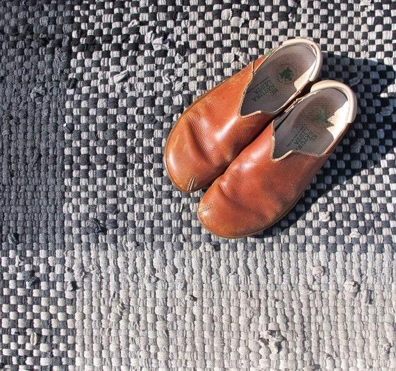 Rag Rug Runner, Handwoven Rug, Merino Wool Rug, Beige and Black Rug, Wool Sweater Rug, Recycled Rag Rug, Handmade Rag Rug,