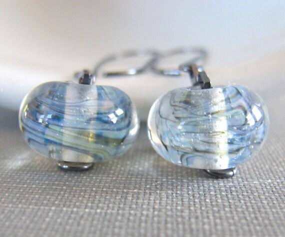 Silver Earrings, Blue Green Glass, Clear Wispy Glass, Sterling Silver, Glass Earrings, Silver Jewelry, Oxidized Silver, Lampwork Glass