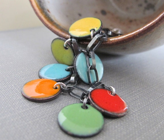 Enamel Bracelet, Enameled Copper, Silver Chain, Chain Bracelet, Round Dots, Geometric Jewelry, Rainbow Colours, Silver Bracelet