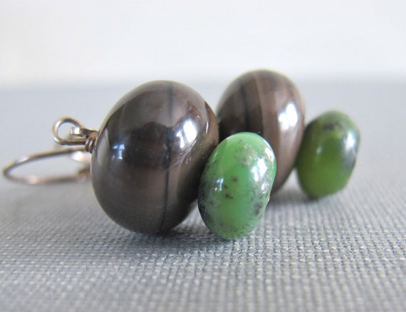 Gemstone Earrings, Coffee Jasper, Chrysoprase, Silver Earrings, Dangle Earrings, Sterling Silver, Gemstone Jewelry, Silver Jewelry