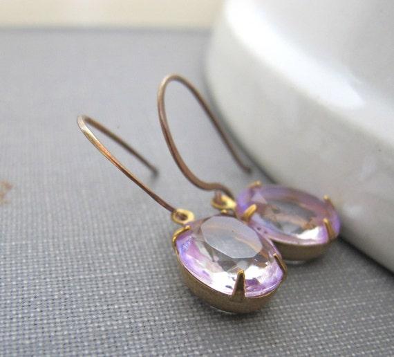 Vintage Glass, Glass Earrings, Copper Earrings, Mauve Glass, Copper Jewelry, Drop Earrings, Clear Lilac Glass
