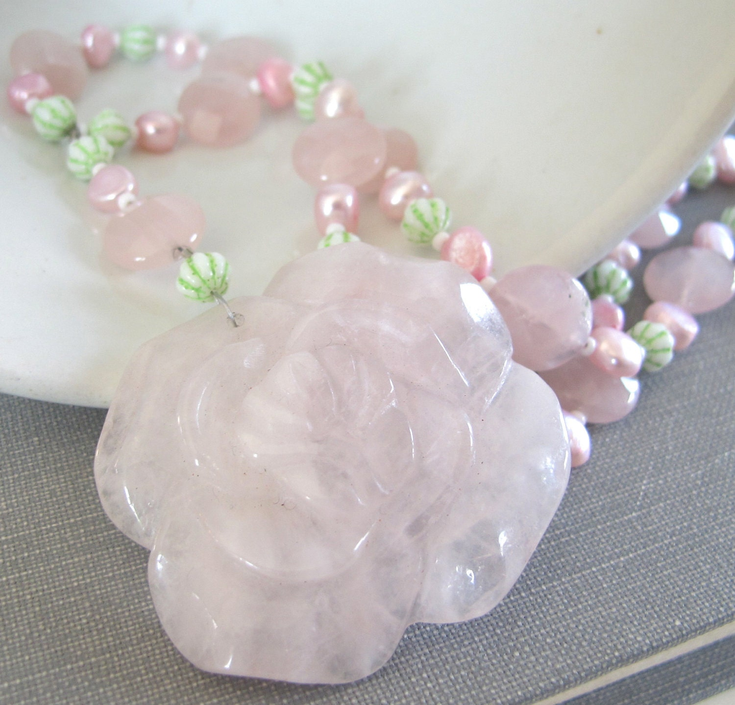 Rose Quartz Necklace Pink Pearls Beaded Necklace Rose