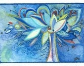 Blue Sunday- ACEO original watercolor