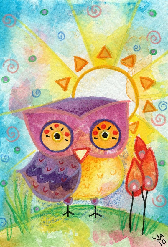 Morning, Sunshine - Original Painting Owl watercolor