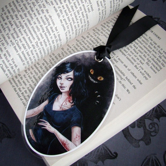 Art Bookmark- Anita Blake- Glossy, laminated oval image with black ribbon tail