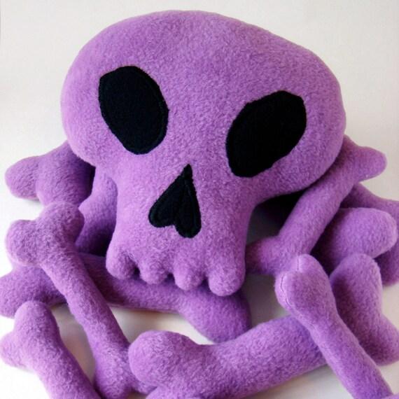 Plush Skull and pile of bones -FREE SHIPPING-Light purple soft fleece-12 piece set