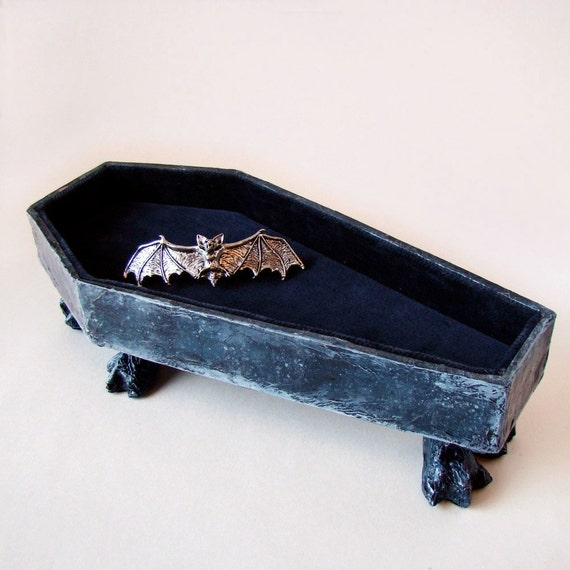 Claw Footed Coffin Jewelry Box - Papier Mache Sculpture with velvet interior