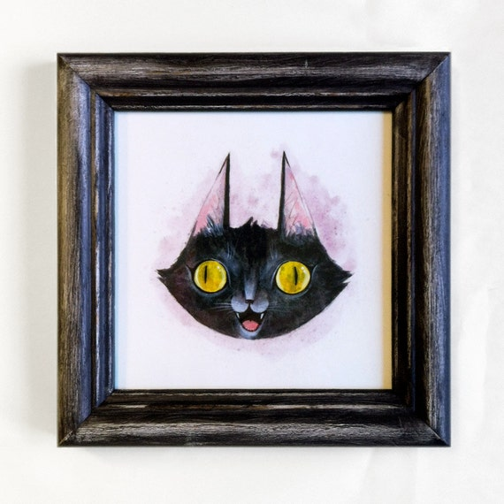 Super Happy Cat framed PRINT -hand painted frame with glass