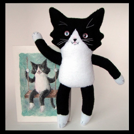 Original Art and Stuffed Cat -SALE-