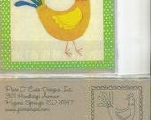 Pin Pal no. 14 - chicken applique quilt block