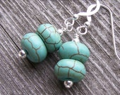 Turquoise Aqua Magnesite Rondelle Dangle Earrings with Sterling Silver
