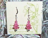 Pink-a-licious Christmas Trees with Swarovski Crystals and Sterling Earrings