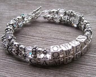 Custom Made Personalized 2 Strand Mothers Grandmothers  Name Bracelet with Sterling Swarovski