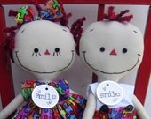 Autism Awareness handmade cloth dolls Boy and Girl Pair