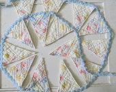 Bunting Banner Garland in Pink, Blue and Yellow Vintage Quilt and Rick Rack Fabric