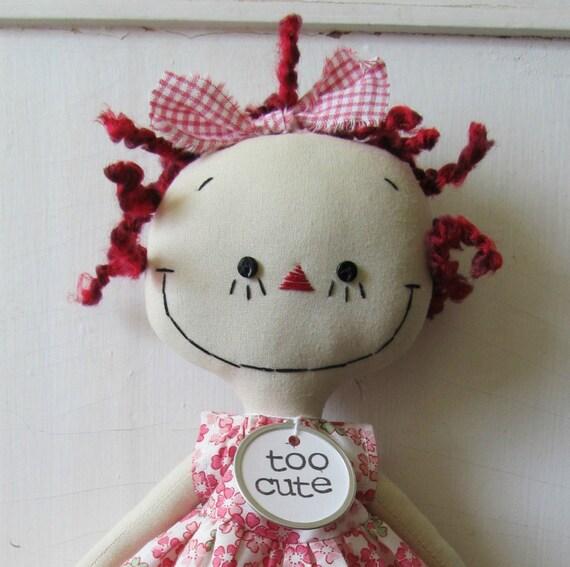 Raggedy Ann handmade cloth rag doll in Pink Flowers