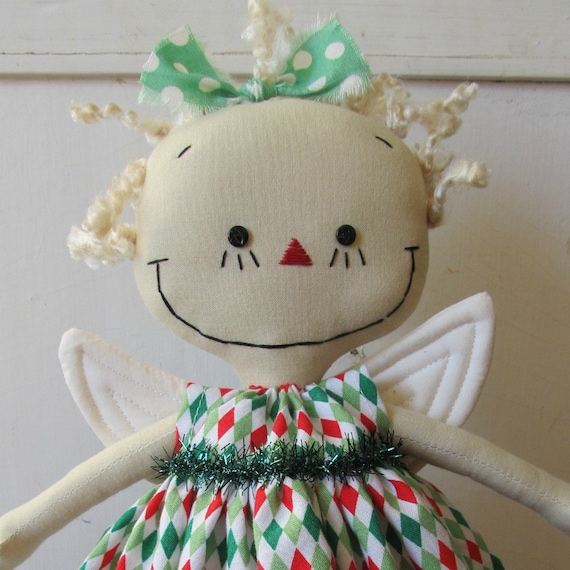 Angel Christmas Tree Topper in Red, Green and White handmade