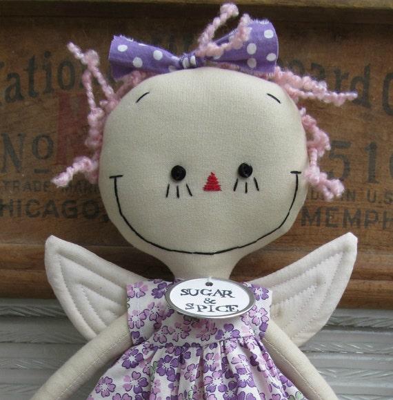 Fairy in Purple handmade cloth rag doll