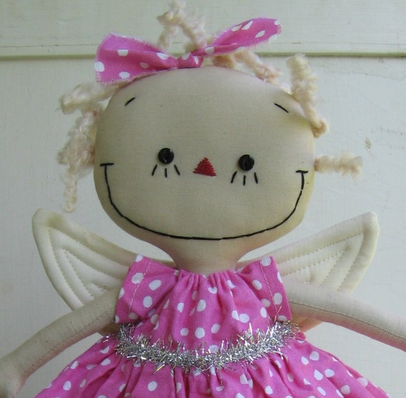 Angel Christmas Tree Topper in Pink and White Polka Dots