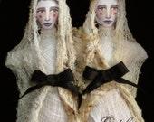 Conjoined Twin Ghost Stuffed Print Dolls