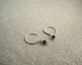 Hoopla Earrings by Jewelles, with hematite gemstone bead dangle ROCK BOTTOM PRICE