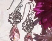 Sparkling Austrian Crystal Light Rose Dangle Earrings