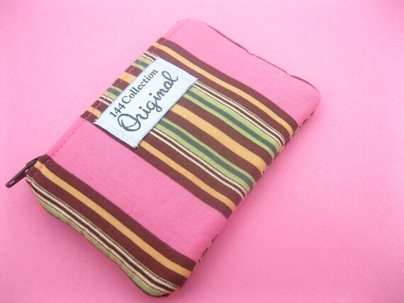 Charm Awning Pink and Brown Stripes Coin Purse Wallet
