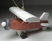 Airplane Christmas tree ornament - copper high wing airplane
