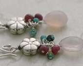 FLOWER DROP Turquoise Chalcedony Pink Sapphire Sterling Silver Dangle Earrings