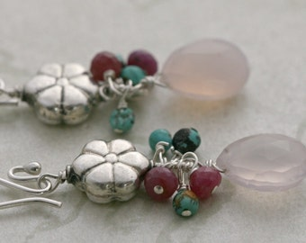 FLOWER DROP Turquoise Chalcedony Pink Sapphire Sterling Silver Dangle Earrings