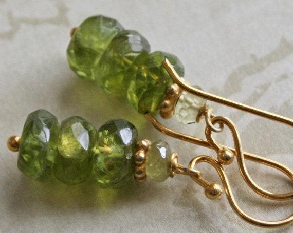 SALE -- BUY 2 ITEMS GET 33% OFF -- PERIDOT Green Garnet GOLD VERMEIL Earrings -- CODE: BUY2SALE