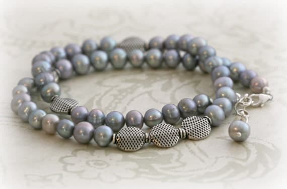 Gray PEARL and BALI SILVER Necklace