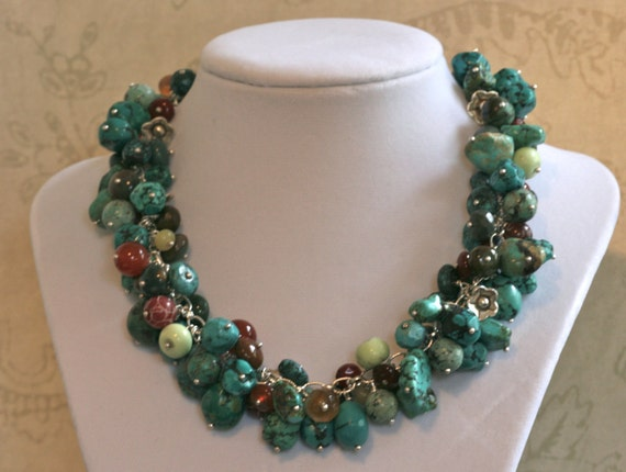 DESERT BLOSSOMS Chunky Turquoise GEMSTONE Karen Hill Thai Fine Silver Loaded One of a Kind Necklace