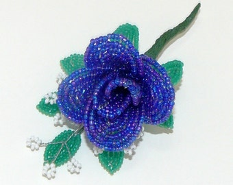 French Beaded Rose Brooch Made to Order