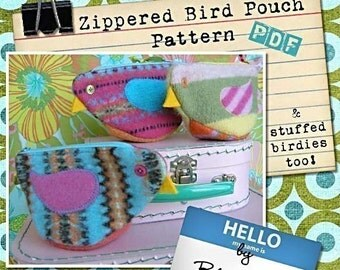 Zippered Bird Pouch - PATTERN PDF