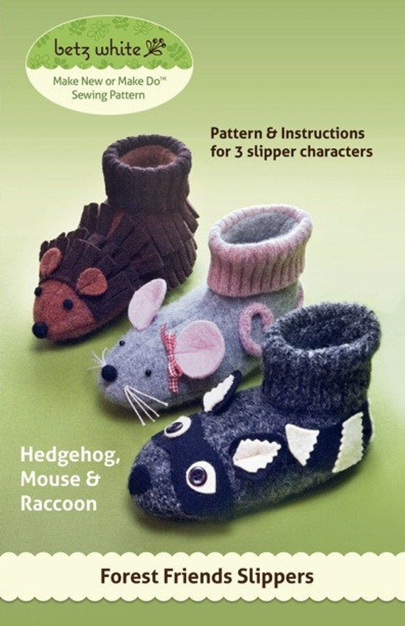 Forest Friends Slippers - PDF PATTERN