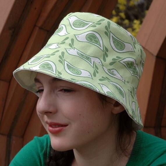 Organic Canvas Bucket Hat - Birdsong print in Celery, M/L