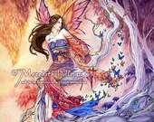 Japanese Fairy Art, Butterflies, Sunset sky, Enchanted Forest, 8x10 print by Meredith Dillman