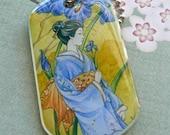 Blue, Iris, Japanese art, Kimono. dog tag, necklace, pendant, Ukiyo-e style, stocking stuffer