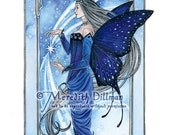 Night Sky, Fairy art, Blue stars, Faerie Queem, butterfly wings limited edition print - Four Seasons set