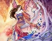 Sunset Fairy print, Japanese Kimono, fantasy art, red and purple, 11x14 The Edge of Enchantment