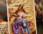 Fox art print, Kitsune, Fox Spirit, Japanese kimono, Autumn leaves, gift for tea drinker, 5x7