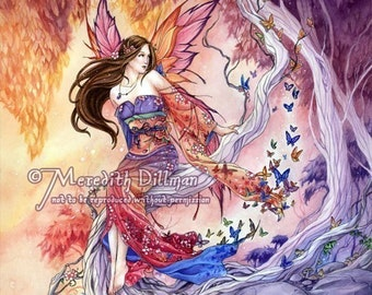 Japanese Fairy Art, Butterflies, Sunset sky, Enchanted Forest, 8x10 print by Meredith Dillman
