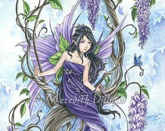 Wisteria flower fairy art, fantasy print, purple and blue Meredith Dillman