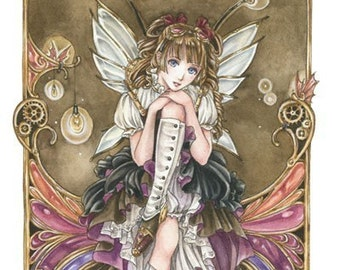 Steampunk fairy, anime girl, fantasy art print  - Gears and Glass 8x10 - by Meredith Dillman